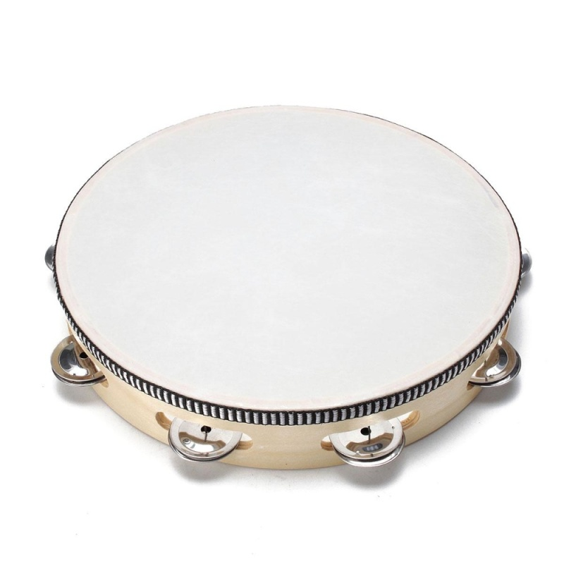 10'' Musical Tambourine Tamborine With Head Drum Round Percussion for KTV Party - intl