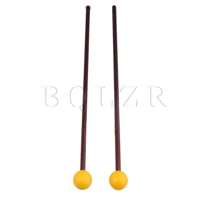 15 Inch Plastic Head Maple Handle Bell Mallet Set of 2 Yellow - intl