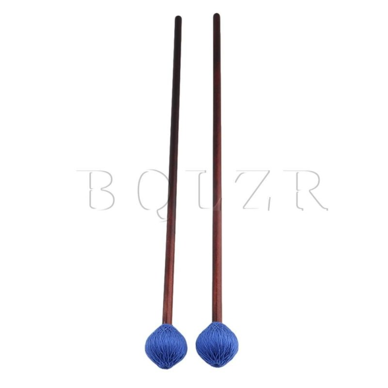 2pcs Maple Handle Woolen Yarn Head Hard Keyboard Marimba Mallets Blue - intl