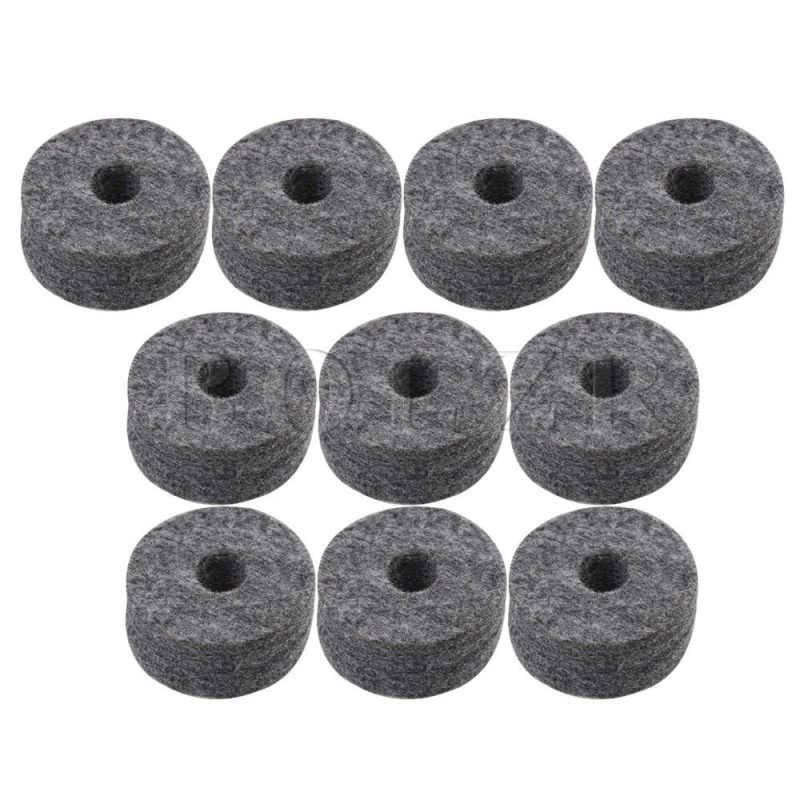 3.5x1.5cm Felt Washers Replacement for Drum Kit Set of 10 Black - intl