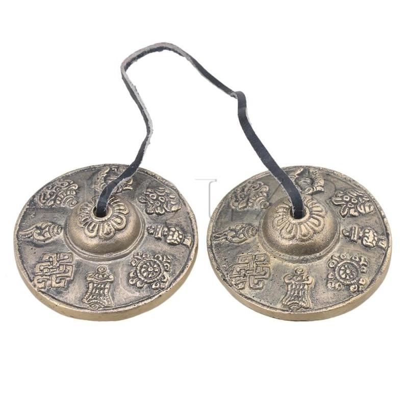 6.5cm Eight Auspicious Symbols Small Tibetan Tingsha Cymbals Bell - intl