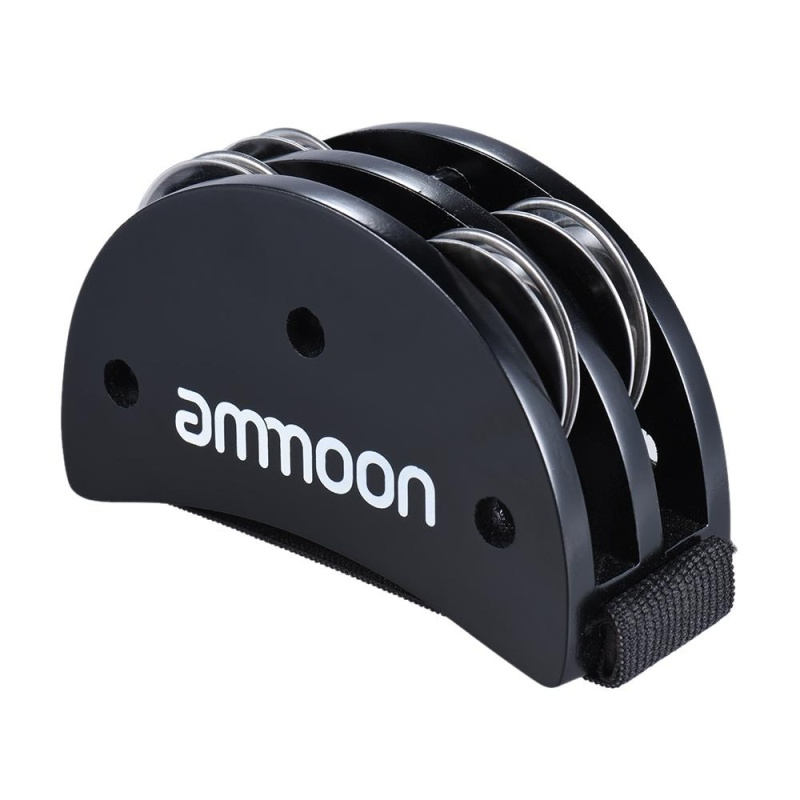 ammoon Elliptical Cajon Box Drum Companion Accessory Foot Jingle Tambourine for Hand Percussion Instruments Black - intl