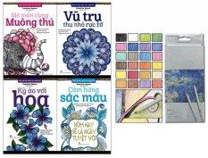 Bộ 4 cuốn Sách tô màu dành cho người lớn và Chì Màu Raffine 24M - Ngân Mai và Valentina Harper