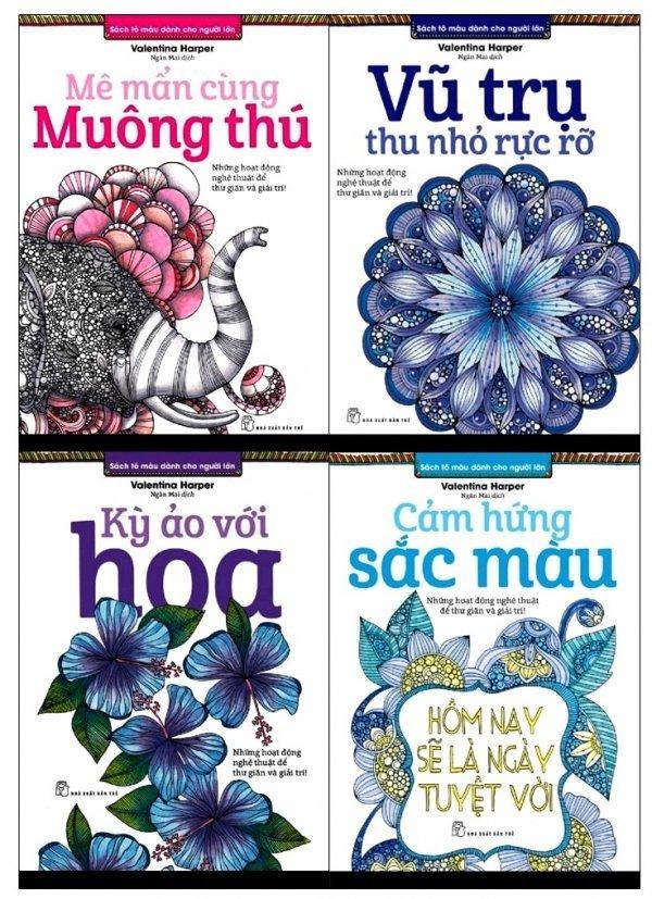 Bộ 4 cuốn Sách tô màu dành cho người lớn - Valentina Harper và Ngân Mai