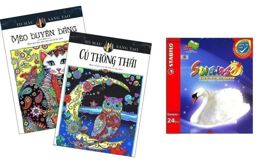 Bộ Sách tô màu dành cho người lớn Mèo Duyên Dáng - Cú Thông Thái và Chì Màu Stabilo Swans CL1869-24 - Marjorie Sarnat