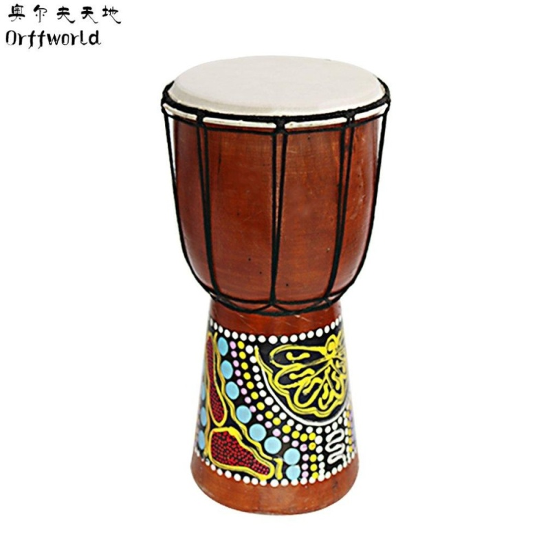 "CHEER Orff world Djembe Drummer Percussion 6"" Wooden African Style Hand Drum FZG-6M Multicolor - intl"