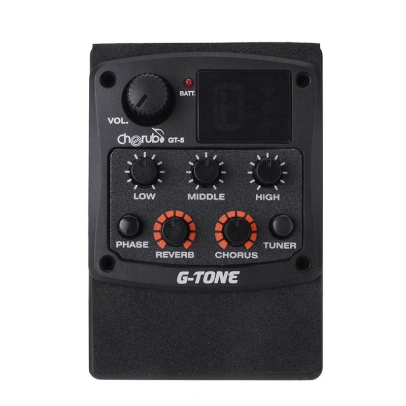 Cherub G-Tone GT-5 Acoustic Guitar Preamp Piezo Pickup 3-Band EQ Equalizer LCD Tuner with Reverb/Chorus Effects - intl