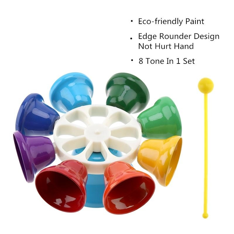 Colorful 8 Note Percussion Bell Hand Bell Musical Toy Children Baby Early Education Musical Instrument - intl