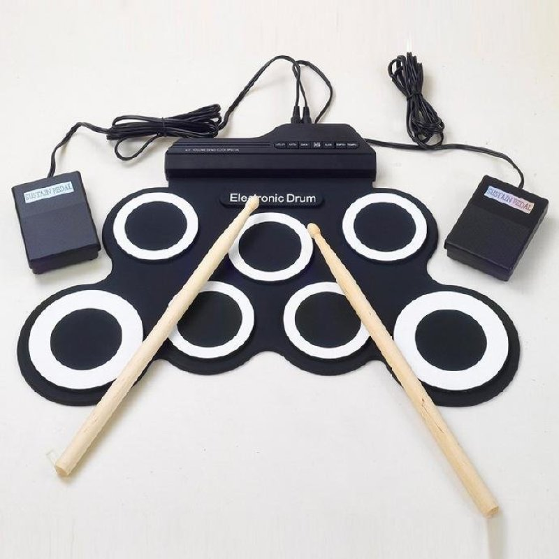Dampened USB portable electronic drum practice silicone drum folding electric drum kit - intl
