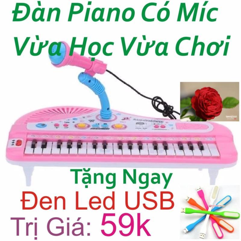 Đàn Piano Mini Có Míc Cho Bé Chất Lượng Âm Thanh Hay Loại Mới ( Hồng ) + Tặng Ngay Đèn Led USB Trị Giá 59k