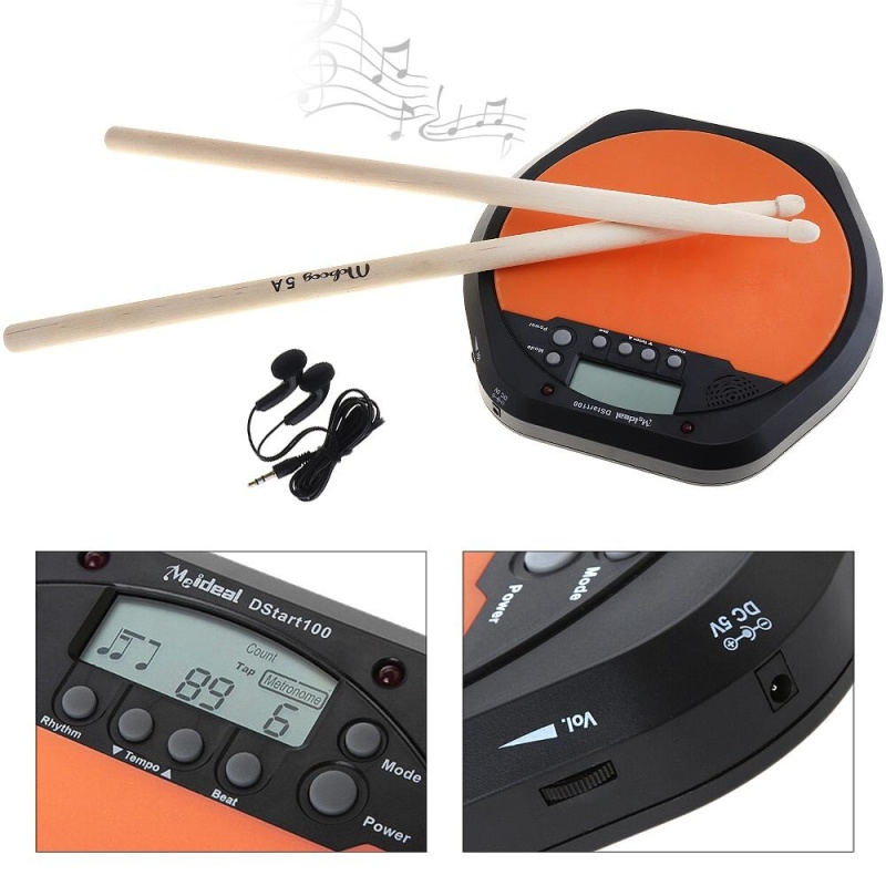 Digital Electric Drum Pad Training Practice Metronome with Two Maple Wood 5A Drum Sticks - intl