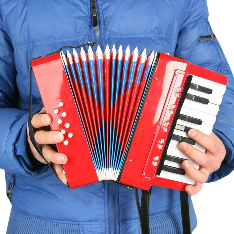 Kids Children 17-Key 8 Bass Mini Small Accordion Educational Musical Instrument Rhythm Band Toy Red ^ - intl