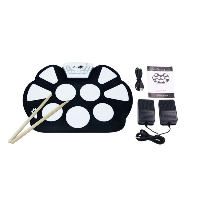 Musical Instrument Portable Electronic Drum Roll-Up with Stick - intl