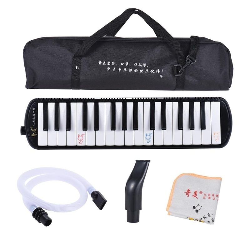QIMEI QM32A-7 32 Piano Style Keys Melodica Musical Education Instrument for Beginner Kids Children Gift with Carrying Bag Black ^ - intl