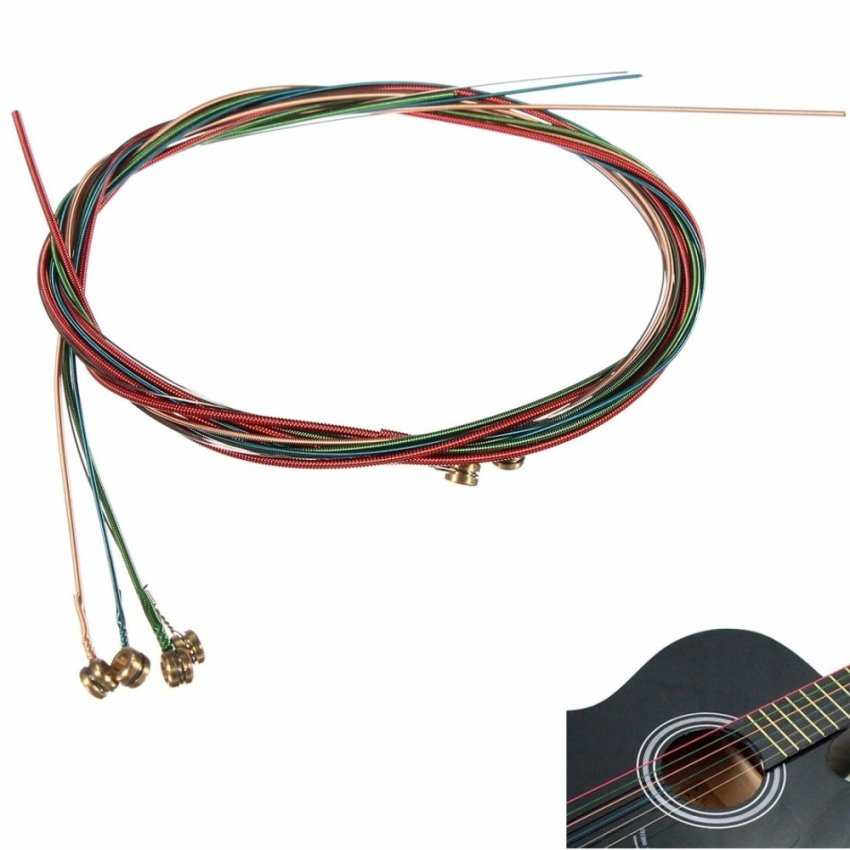 Rainbow Colorful Strings For Acoustic Classic Guitar 1M Accessories 6 Pcs - Intl
