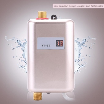 220V 3400W Mini Instant Hot Water Heater Bathroom Kitchen ElectricTankless Machine- Golden - intl