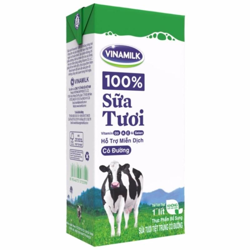 Thùng 12 Hộp Sữa tươi tiệt trùng Vinamilk 100% Có đường 1L (Hộp giấy)