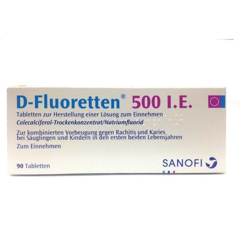 Thuốc cứng xương Vitamin D Fluoretten 500 I.E 90 viên