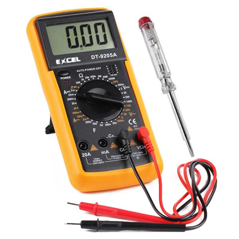 Bộ Đồng hồ đo vạn năng Digital Multimeter Excell MT (Đen phối vàng) và Bút thử điện