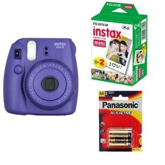 Máy chụp ảnh lấy ngay Fujifilm Instax mini 8 Tím Hộp phim Fujifilm Instax Mini 20 tấm 1 Pin sạc AA Panasonic
