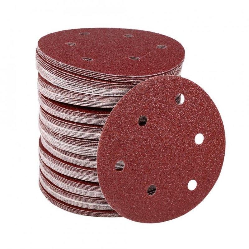 100Pcs 125mm Round Shape Orbit Sander Sand Paper Discs 6 Holes Grit Sanding Sheets (60#) - intl