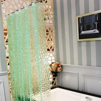 1.8x1.8m Waterproof 3D Thickened Bathroom Bath Shower Curtain Green
