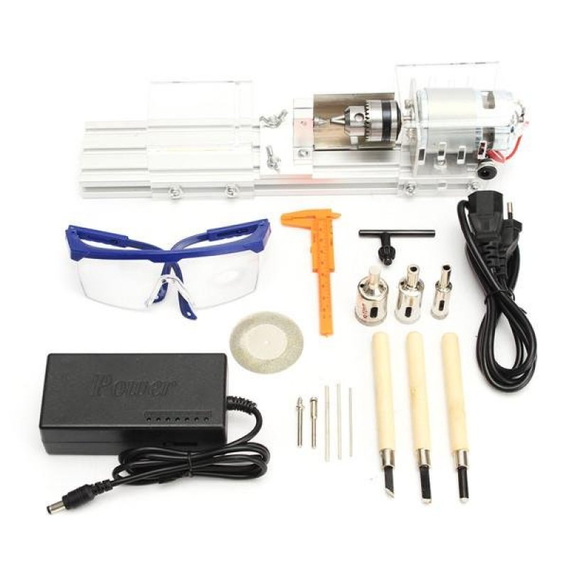 24V DC 100W Mini Lathe Bead Machine Polisher DIY Rotary Lathe Standard Set Kits - intl