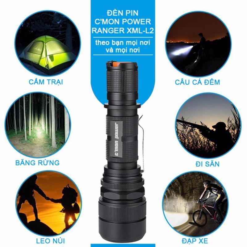 Bộ 1 đèn pin siêu sáng C'mon Power RANGER XML-L2 LED 10W 2000lm chiếu xa 500m + 1 pin sạc 18650 + 1 cáp sạc USB (đen)