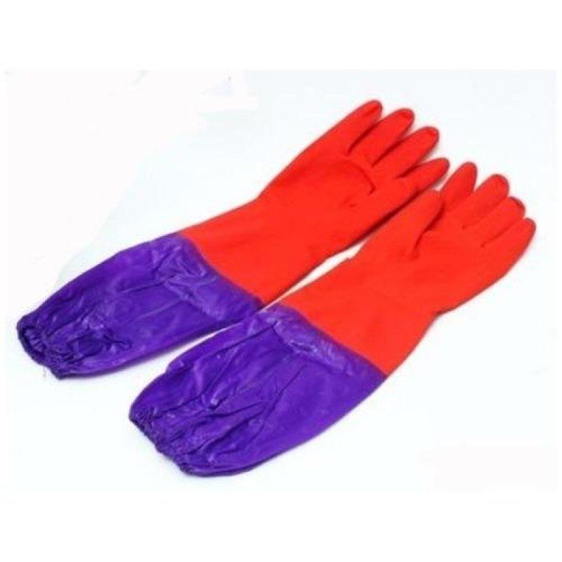Đôi găng tay cao su lót nỉ có cạp chun cao cấp TLS168 (Đỏ)