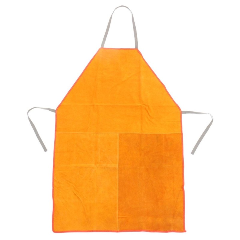 Heavy Duty Welders Welding Apron and Gauntlets Gloves Red Leather Safety (Yellow) - intl