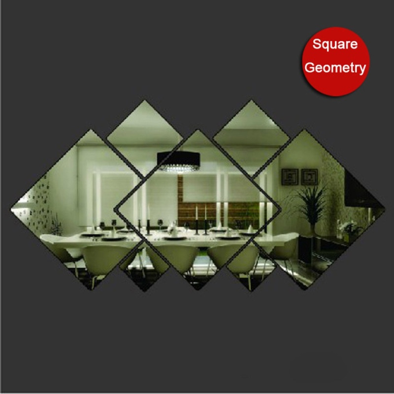 Removable Mirror Acrylic Diamond Side DIY Acrylic Decorative Mirror Paste - intl