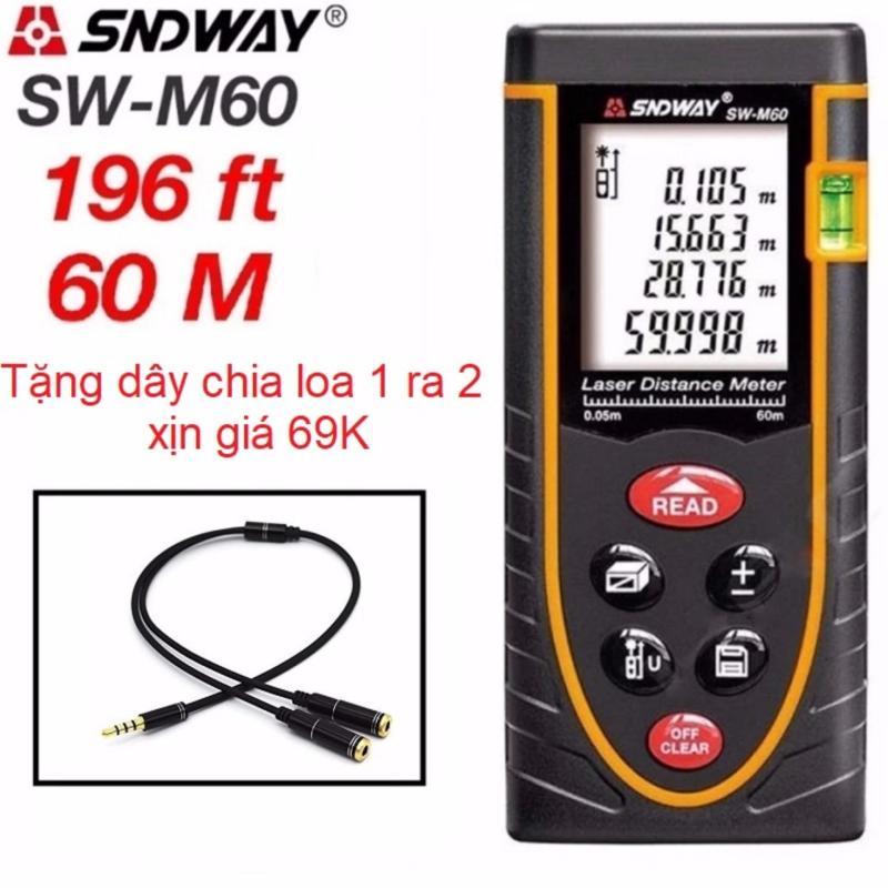 Thước đo khoảng cách bằng tia laser SNDWAY SW-M60 phạm vi đo 60m + Tặng 1 dây chia loa 1 ra 2 loại mới giá 69k