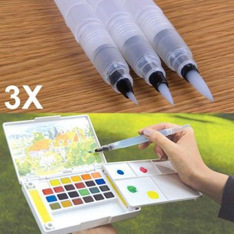 YBC 3Pcs Refillable Ink Color Pen Water Brush Painting Pen Office Stationery(S+M+L) - intl