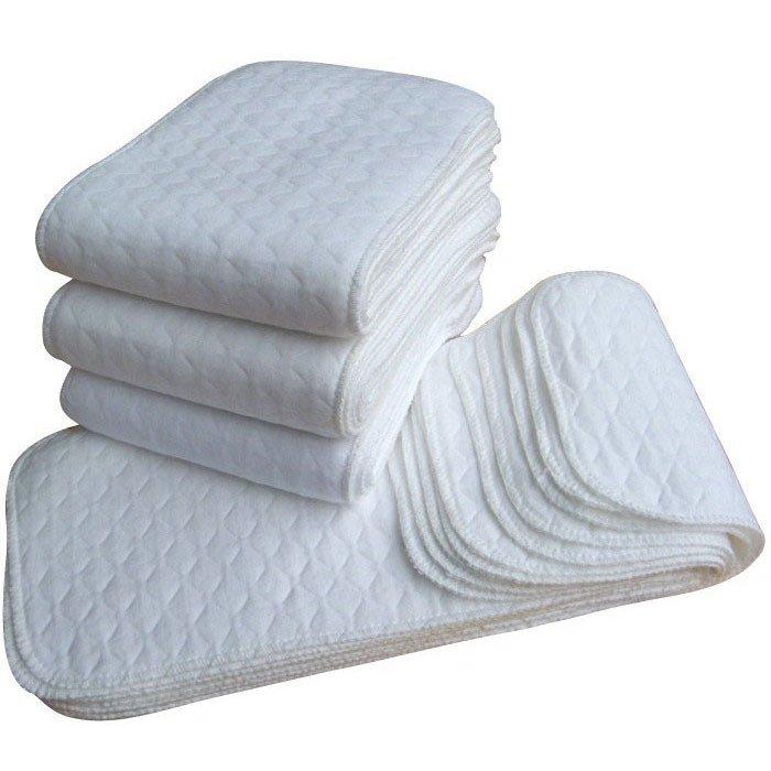 10 Pcs Baby Cotton Washable Reusable Soft Cloth Diaper Inserts White (Intl)