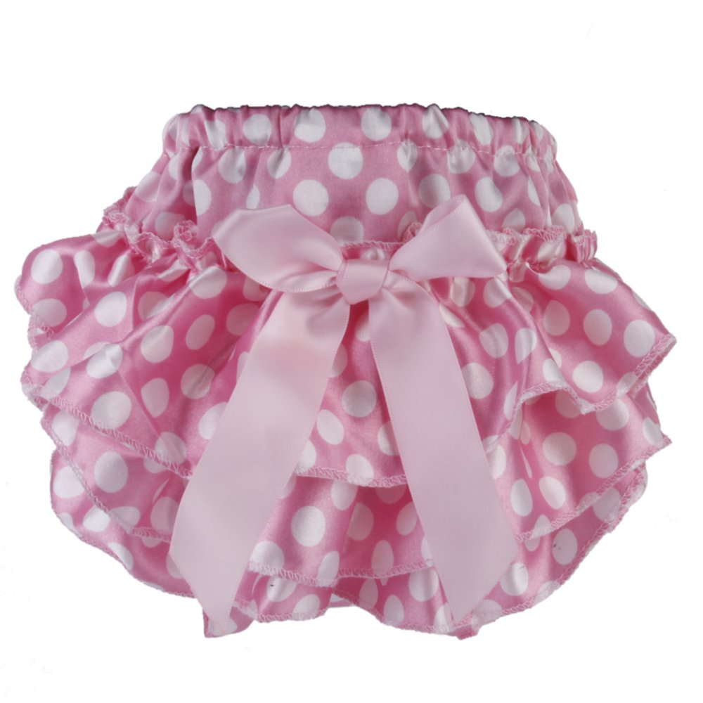 Baby Girl Bloomers Diaper Cover Panties for 0-6 Months S White Dots on Pink - Intl