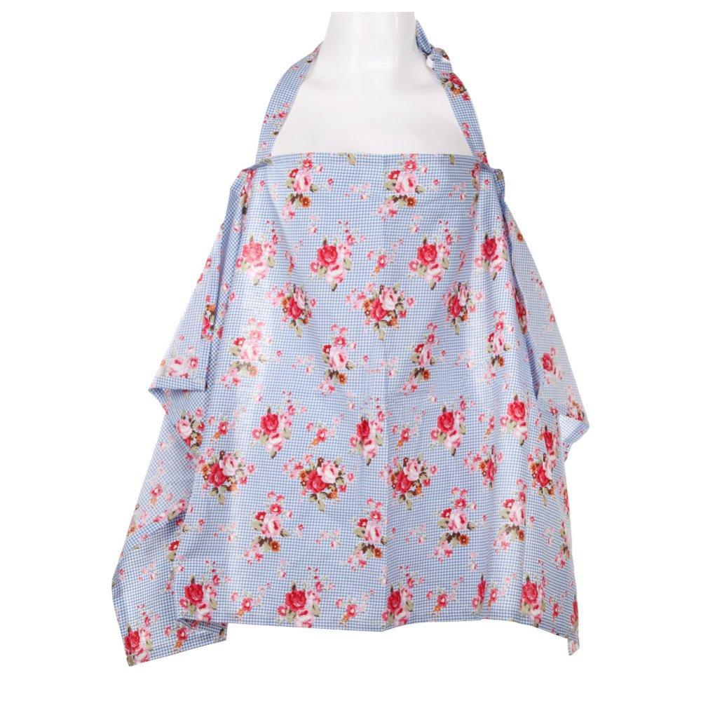 Baby Mum Breastfeeding Nursing Poncho Cover Up Cotton(Blue Flower)