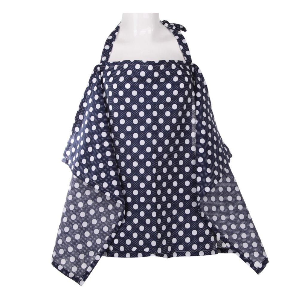 Baby Mum Breastfeeding Nursing Poncho Cover Up Cotton(Dark Blue Dots)
