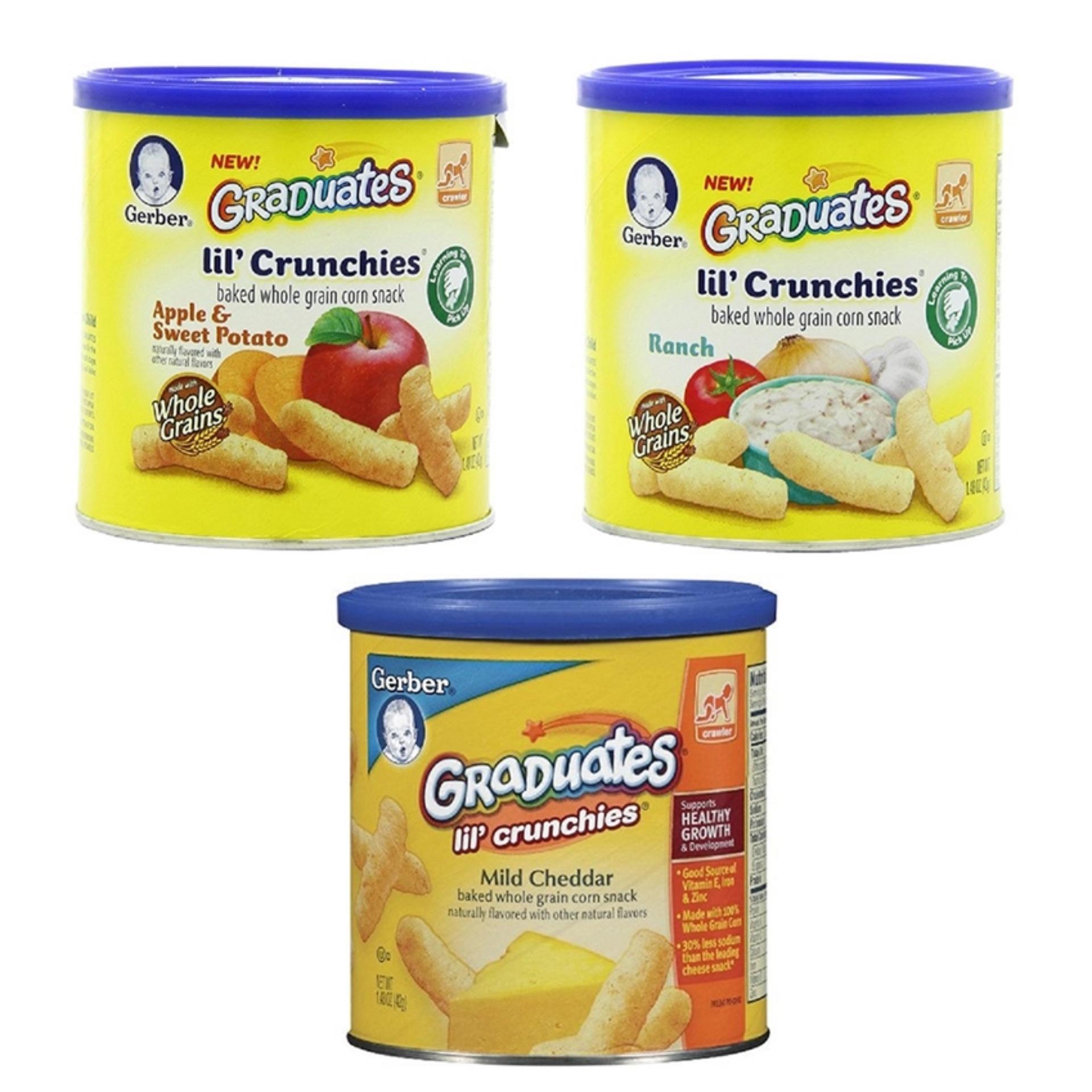 Bộ 03 Hộp Tròn Bánh Ăn Dặm Gerber Graduates Lil' Crunchies Vị Táo, Khoai Lang, Phomai Cheddar, Củ Hành