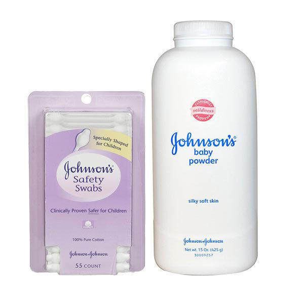Bộ 1 phấn chống hăm + 1 hộp bông tăm cho bé sơ sinh Johnson's Baby