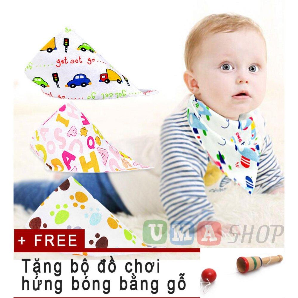 Bộ 10 khăn yếm tam giác cho bé tặng kèm đồ chơi hứng bóng bằng gỗ