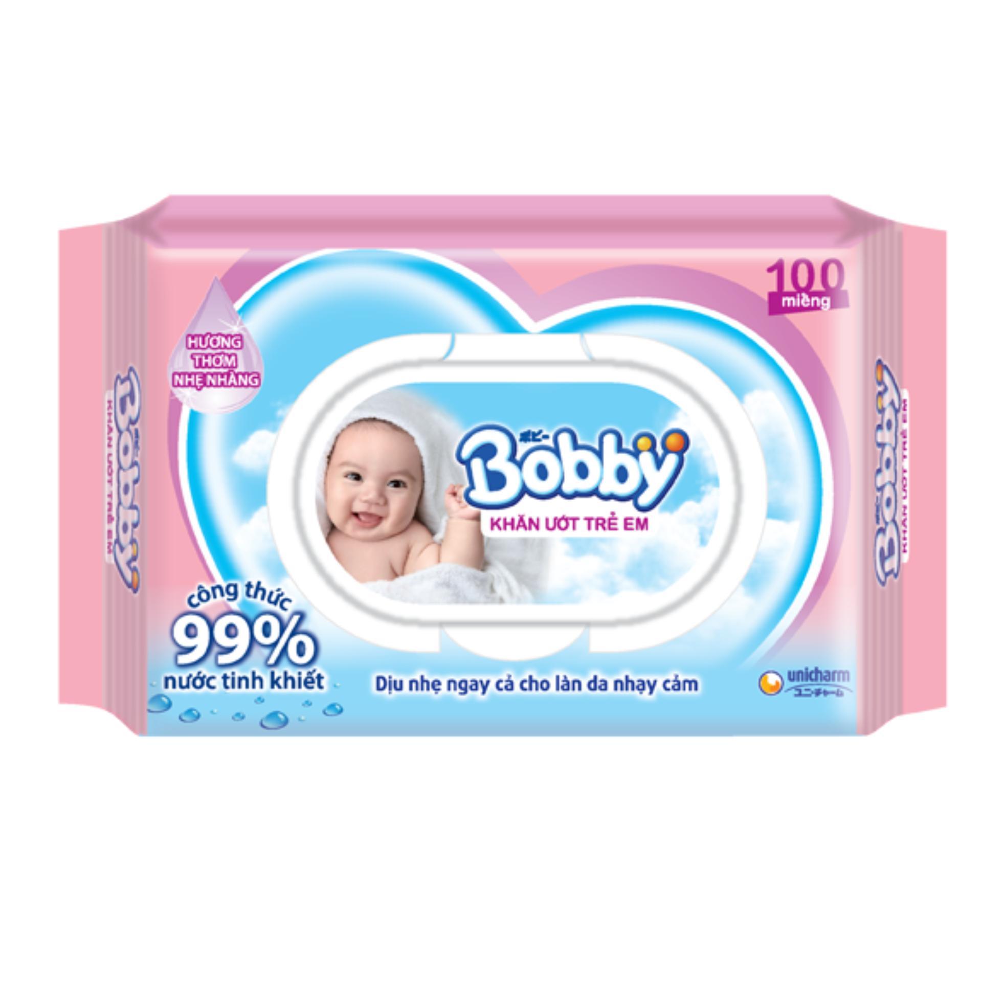 Bộ 2 gói Khăn ướt Bobby 100 tờ mùi hương nhẹ nhàng (hồng)