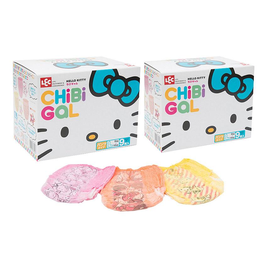 Bộ 2 hộp bỉm quần bé gái LEC Hello Kitty Chibi Gal HC-040 size L hộp 9 miếng