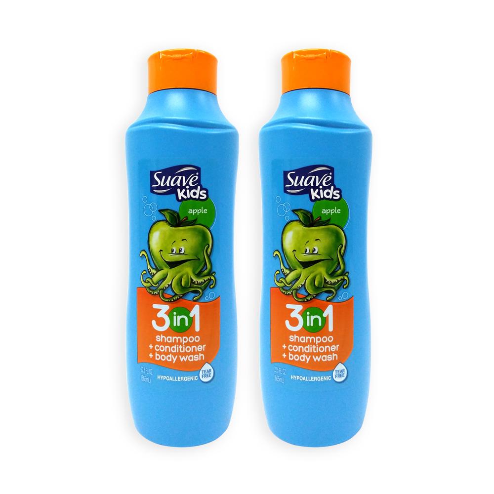 Bộ 2 Sữa Tắm, Gội và Xả cho bé Suave Kid 3in1 Hương Táo 665ml