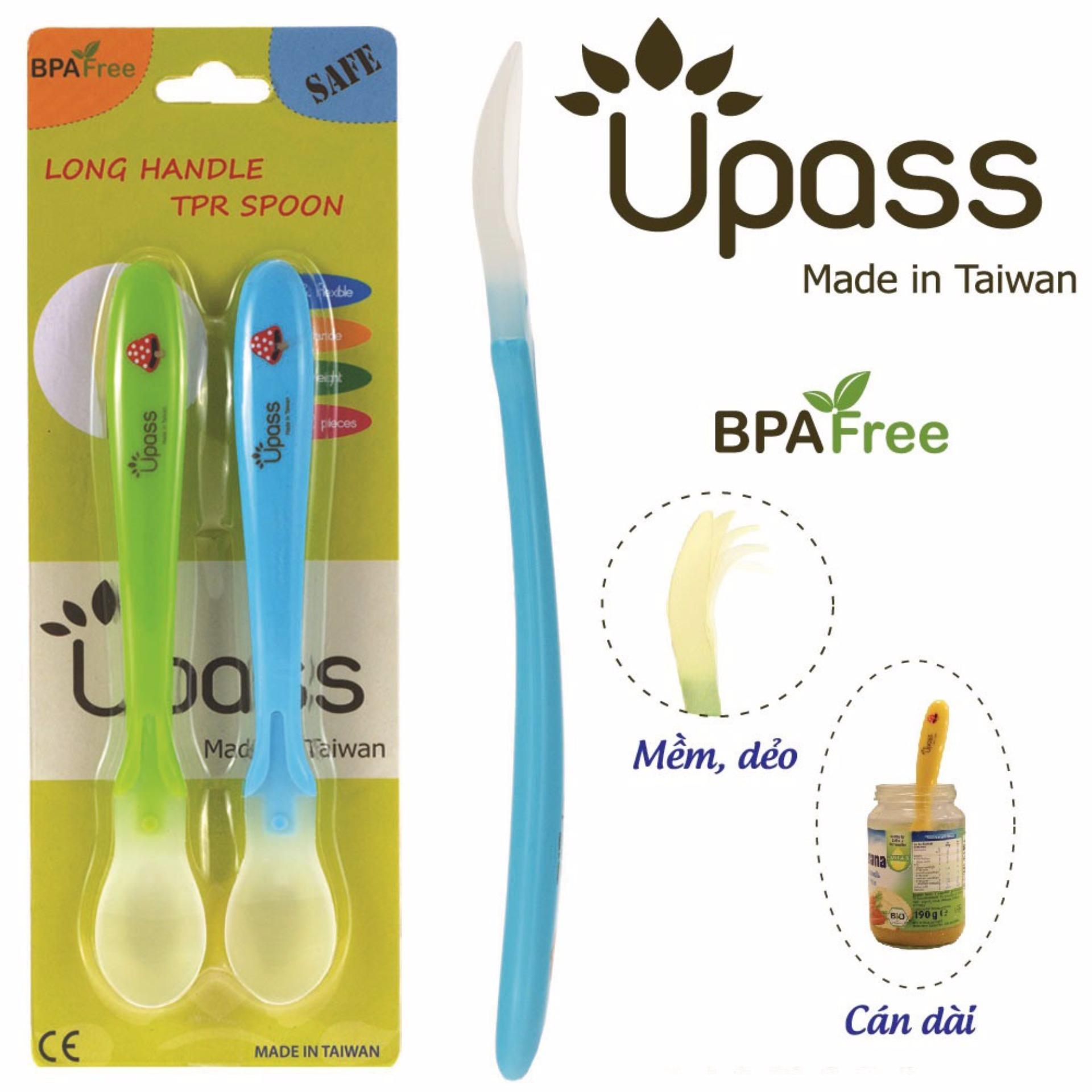 Bộ 2 thìa ăn dặm siêu mềm cán dài không BPA UP3022XC