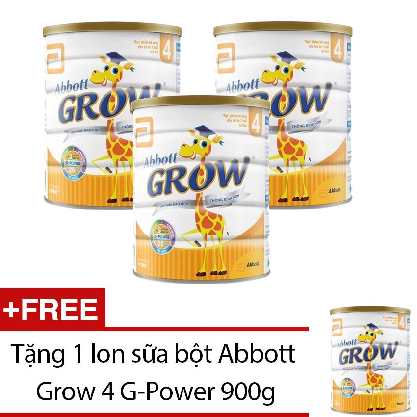 Bộ 3 sữa Abbott Grow 4 G-Power hương Vani 900g + Tặng sữa Abbott Grow 4 G-Power 900g