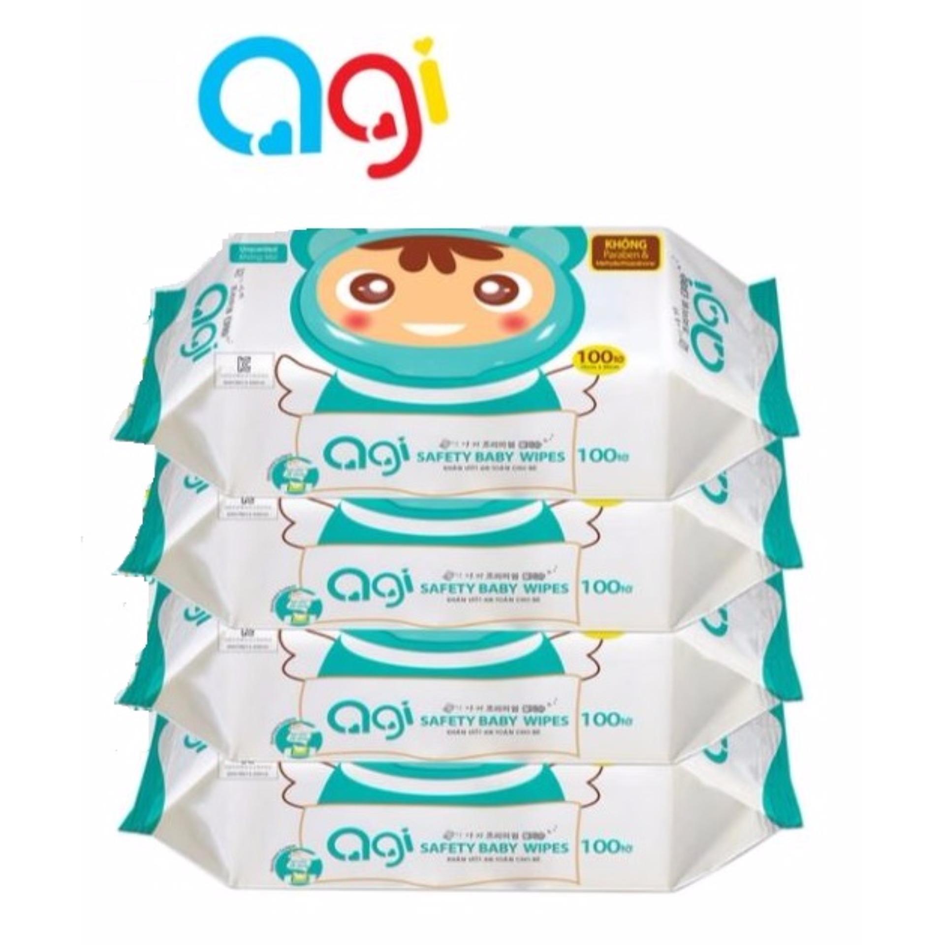 Bộ 4 gói khăn ướt Agi 100 tờ không hương(Xanh lá nhạt)