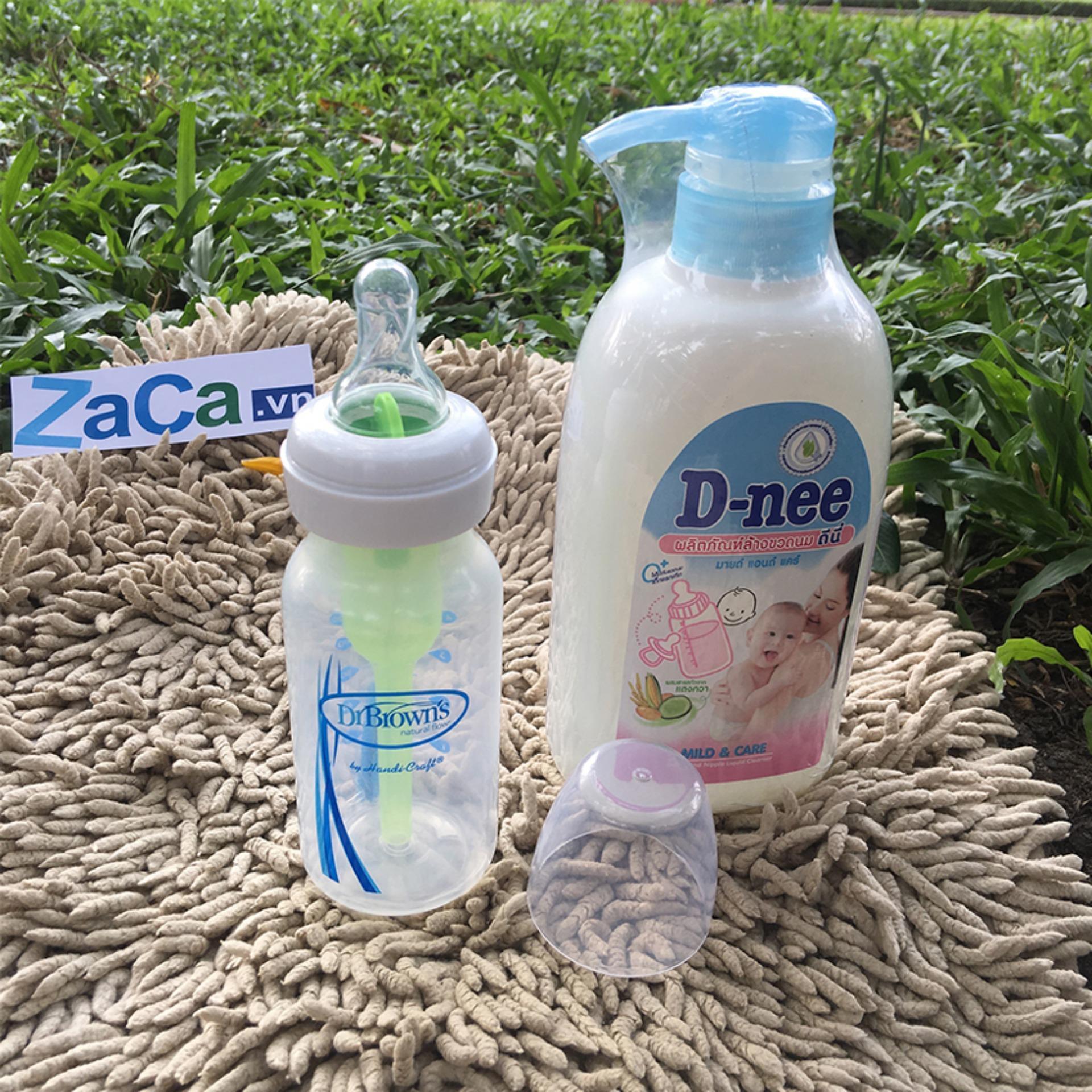 Bộ Bình Sữa Dr. Brown Option Cổ Hẹp 120Ml Và Chai Nước Rửa Bình Sữa D-Nee 500Ml  (Xanh Dương Nhạt)
