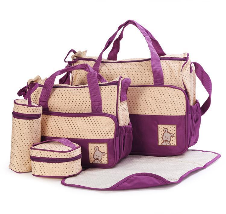 Bộ túi cao cấp cho mẹ và bé 5 trong 1 (Tím)