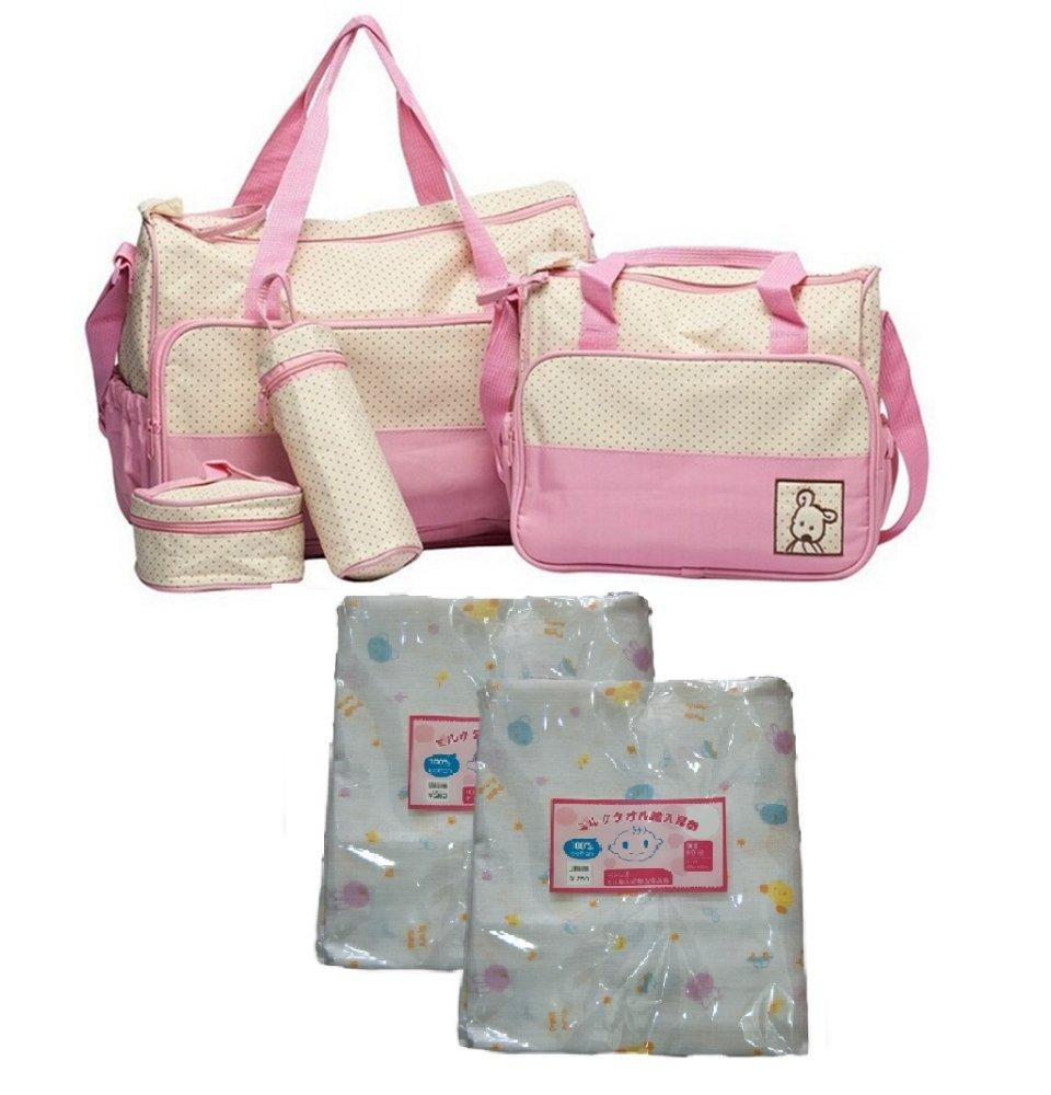 Bộ Túi đựng đồ cho mẹ và bé (Hồng) và Bộ 2 khăn 2 lớp 80 x 80cm