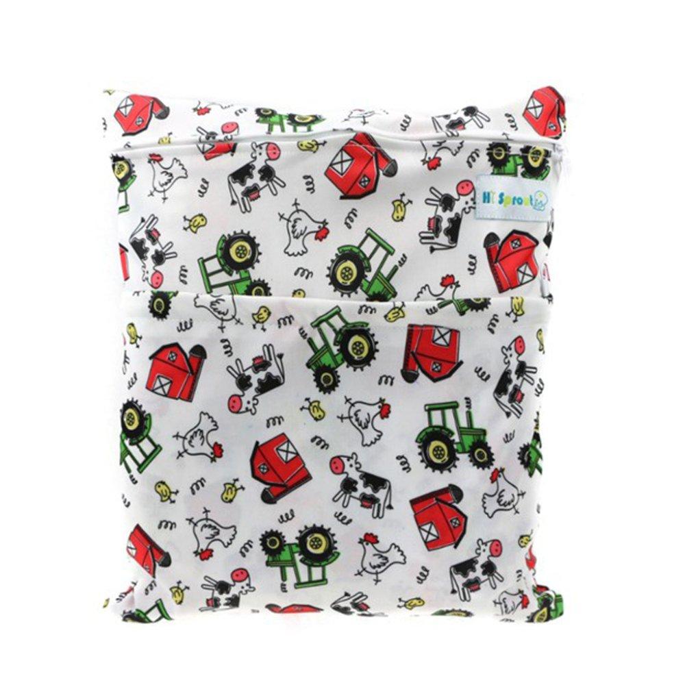 BolehDeals Baby Nappy Waterproof Double Zippers Diaper Bags Farmhouse - intl